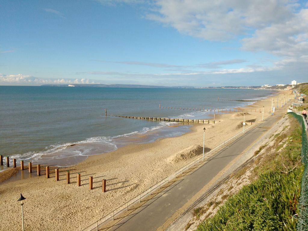 View of beach on morning runs