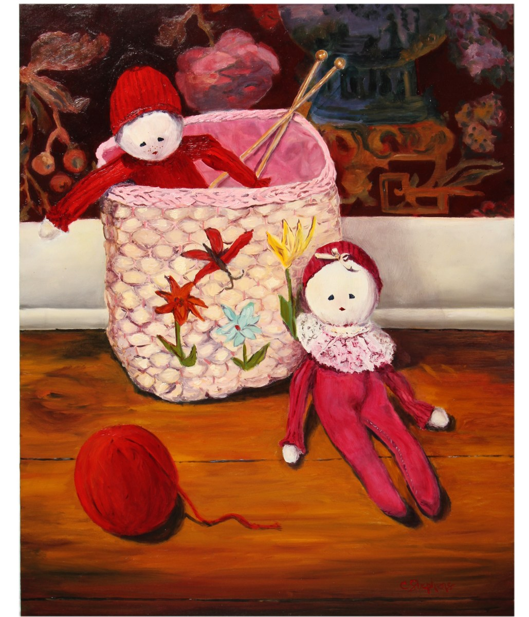 """Original Oil Painting by Catherine Stephens, """"Nursery Pals"""" Oil on Panel, 20"""" x 16."""" Framed. online"""