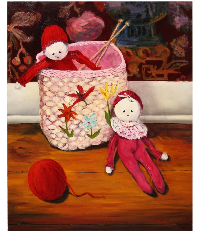 """""""Nursery Pals,"""" Oil on Panel, 20 x 16"""" Framed, $480,Original Oil Painting by Catherine Stephens"""
