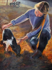 "Original Oil Painting by Catherine Stephens, ""Young Love"" Oil on Canvas, 40"" x 30"""