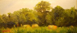 """Summer Afternoon"", Original Oil Painting by Catherine Stephens, Oil on Canvas, 4.5 x 10"" Handcrafted Frame, $120"