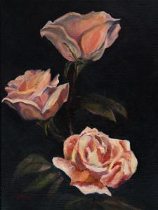 "Original Oil painting by Catherine Stephens, ""Trio of Roses"" Oil on Linen, 16"" x 12."" Framed. online"