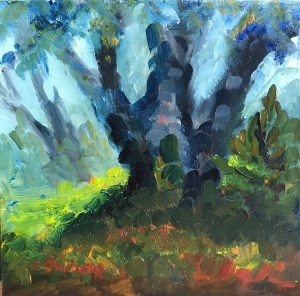 """Dappled Trunks, "" Oil on Panel, 5.5 x 5.5"" $45Original Oil Painting by Catherine Stephens"