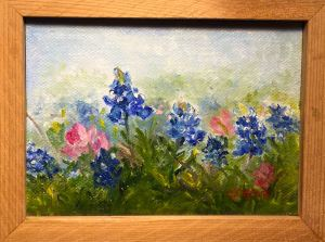 """Blues and Pinks,"" Oil on Canvas, 5"" x 7"" $76. Canvas Reproduction $25.Original Oil Painting by Catherine Stephens"