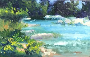 """Creek's Flow"" Oil on Panel, 5.5"" x 9"" $50 Full Size Canvas Reproductions $25, Original Oil Painting by Catherine Stephens"