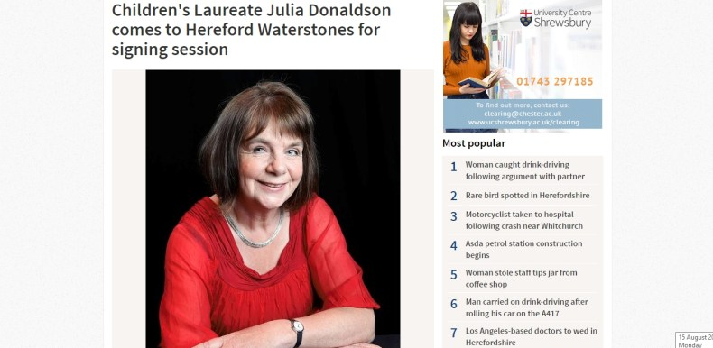 Julia Donaldson comes to Hereford Waterstones