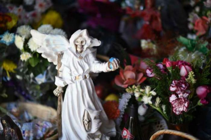 A statue of Santa Muerte.