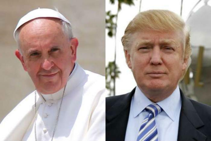 Pope Francis and Donald Trump.