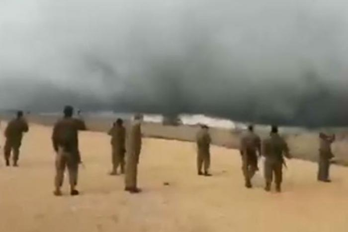 Soldiers film the miraculous storm near the Golan Heights.
