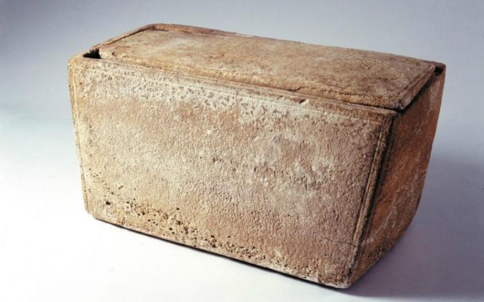 Material from the James Ossuary, which scientists believe carried the remains of Jesus