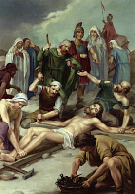 Image of Eleventh Station: Jesus is nailed to the cross