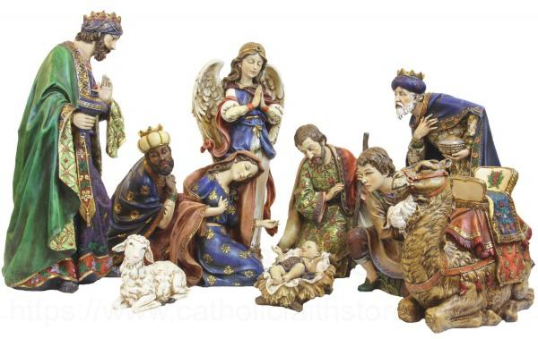 Ornate Resin Nativity Set 19 Inch