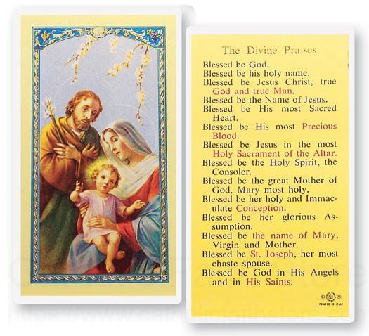 The Divine Praises Holy Family Laminated Prayer Cards 25 Pack