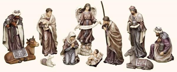 Eleven Piece Christmas Nativity Set Plum Tones 12H