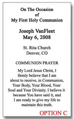 Personalized First Communion Holy Cards Girl 25004