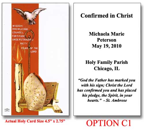 Confirmation Holy Cards For Confirmation Class