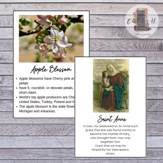 flower fact cards and saint prayer cards