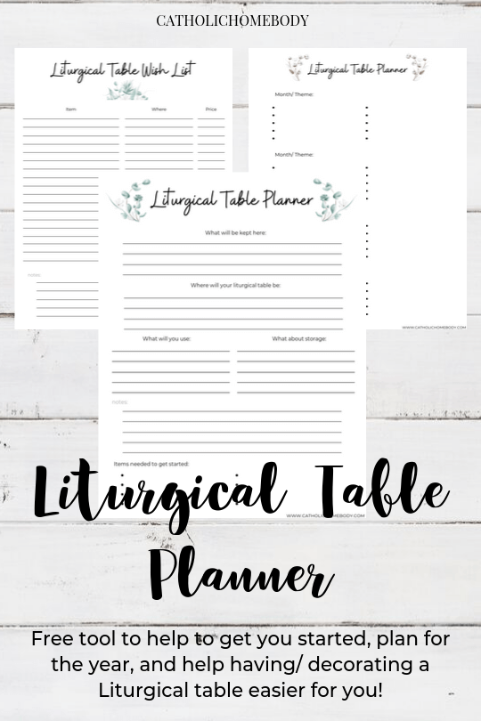 LITURGICAL TABLE PRINTABLE