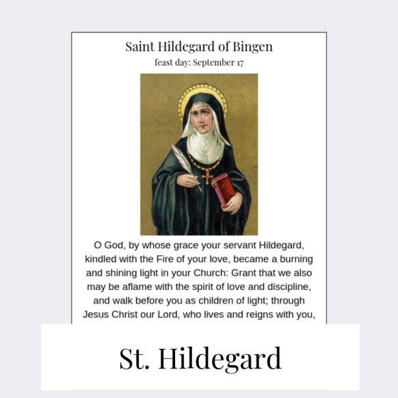 printable saint hildegard prayer card