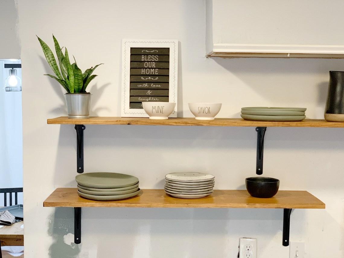 kitchen open shelves on a budget