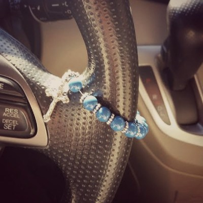 Traveling Rosary for Your Car- one decade, Swarovski beads