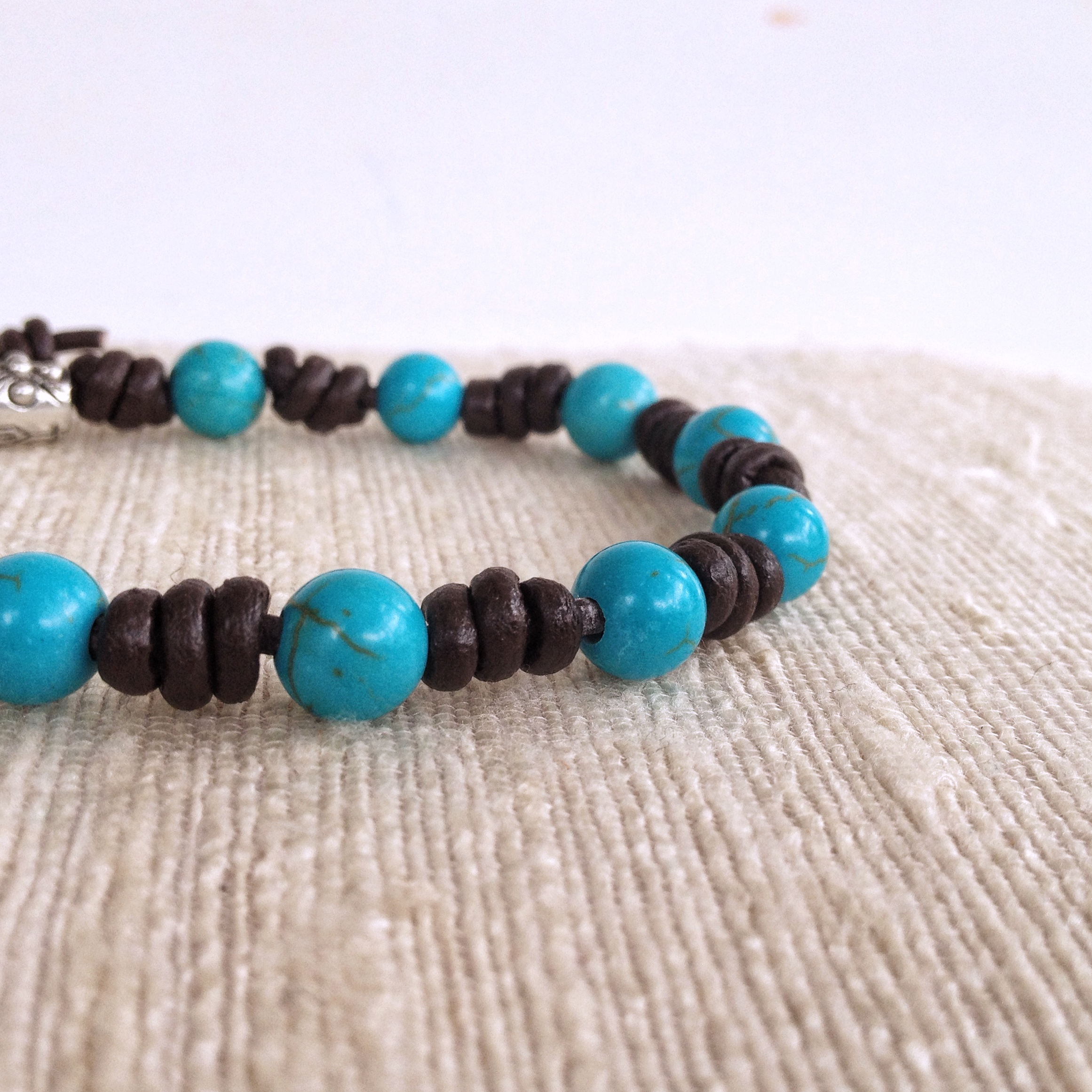 Leather Rosary Bracelet with turquoise beads