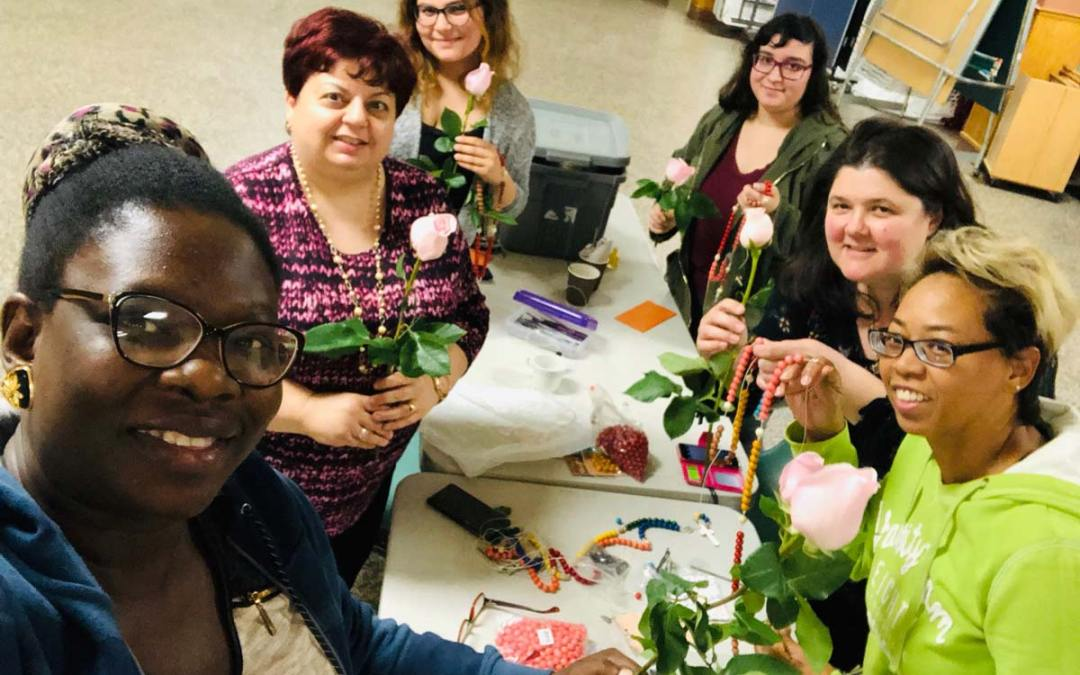 Making Rosaries! October Mothers Group Meeting
