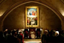 Pope in meeting with Christian Leaders in crypt of St. Marys Cathedral