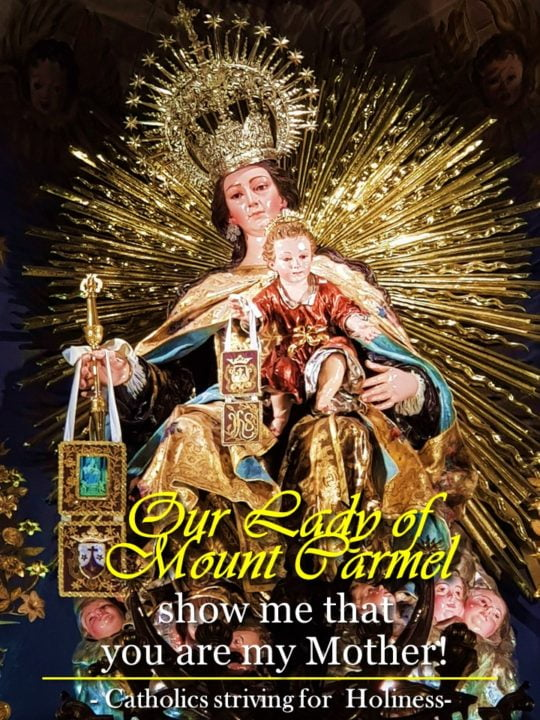 July 16: OUR LADY OF MT. CARMEL. DEVOTION OF THE SCAPULAR AND PROMISES. 2