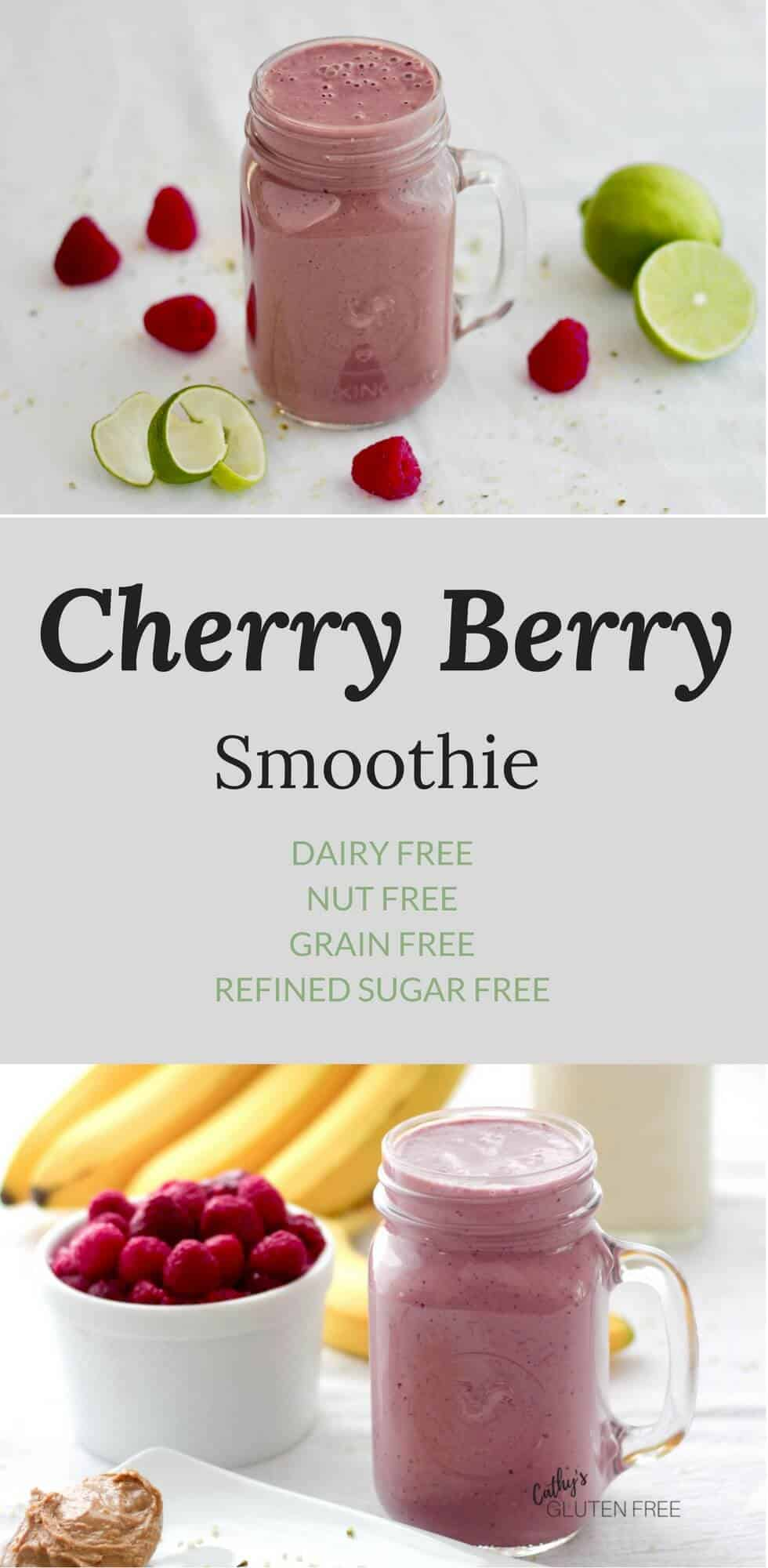 Cherry Berry Smoothie is smooth, creamy, and delicious! It's dairy free, grain free, vegan, nut free, and refined sugar free.