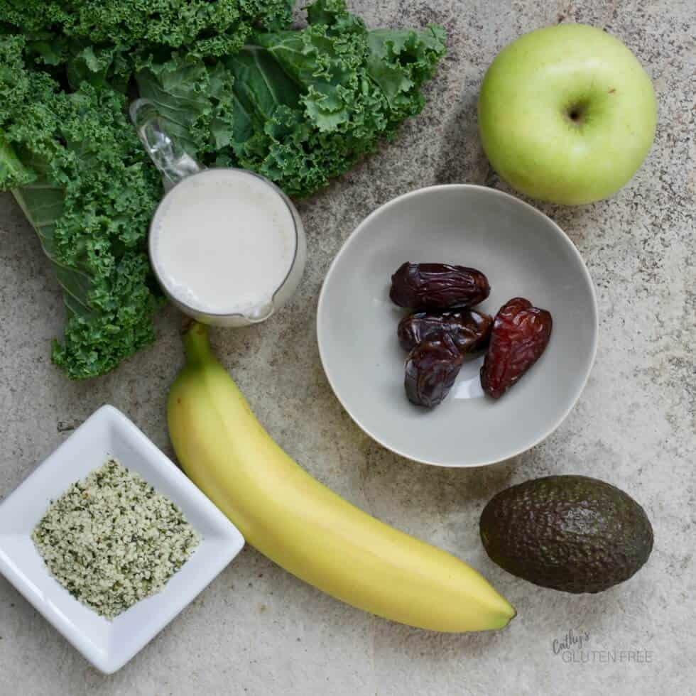 Green Smoothie Ingredients: kale, coconut milk, medjool dates, green apple, avocado, banana, and hemp hearts