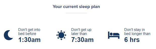 Sleepstation sleep restriction therapy plan week 2