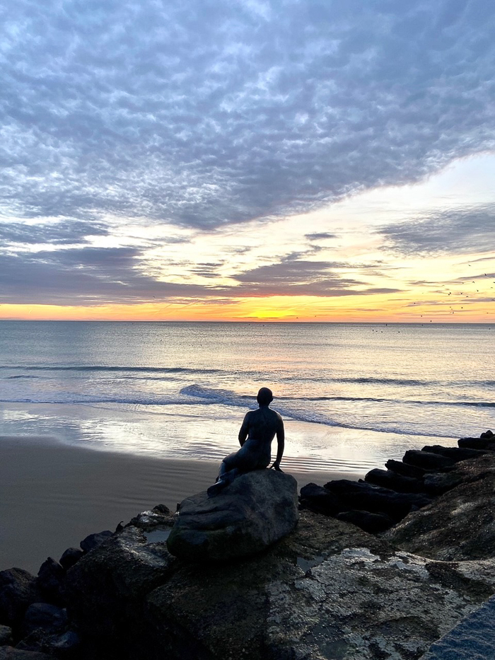 the mermaid facing the sunrise, Sunny Sands, Folkestone