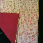 "38"" x 44"" ""Baby Buggies"" flannel blanket with hot pink backing $55"