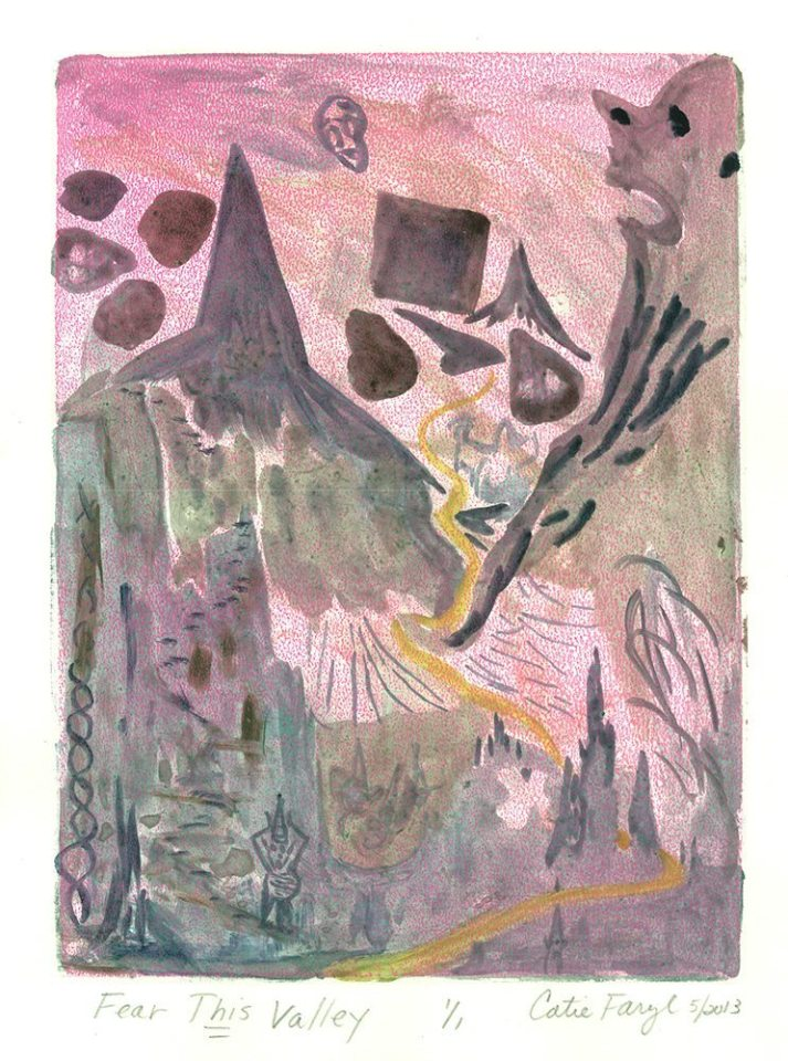 """Fear This Valley, Monotype Print from the """"Don't Shop with G-Nome"""" series by artist Catie Faryl, 2013."""