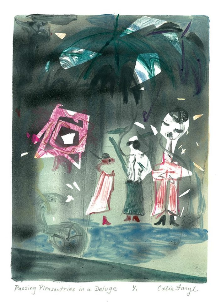 """Passing Pleasantries in a Deluge, Monotype Print from the """"The Bridge to 2020"""" series by artist Catie Faryl, 2013."""