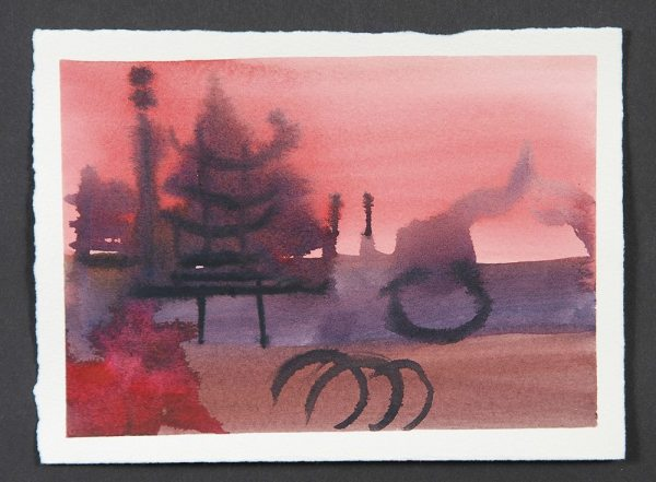 """The Gateway, Monotype Print from the """"The Bridge to 2020"""" series by artist Catie Faryl, 2013."""
