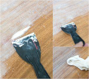 Memperbaiki Goresan Pada Lantai Kayu Dengan Wood Filler