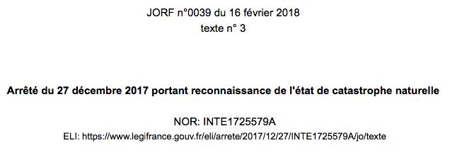 Reconnaissance sécheresse pour les communes de Clermont-Ferrand, Châtel-Guyon, Parent