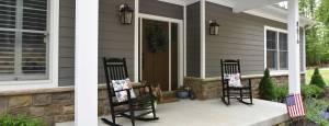 custom home design and build, dark entry door