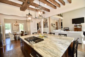 custom open concept kitchen remodel wood beams