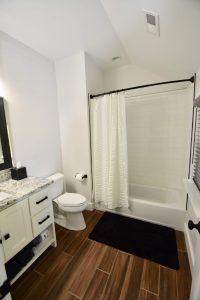 white bathroom update custom cabinet