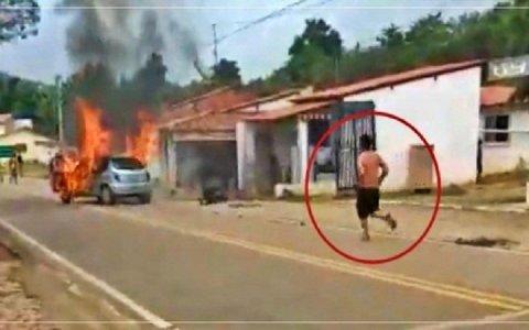 depois de descobrir traicao homem ateia fogo no carro e entra pra dentro video com cenas fortes