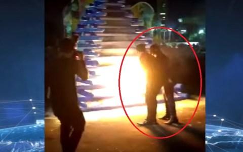 prefeito e esposa sao atingidos por explosao ao acender fogueira video