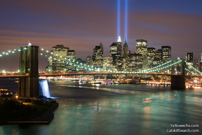 Tribute in Light 2008 (with Waterfall)