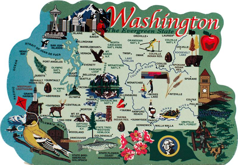 State Map  Washington   The Cat s Meow Village Handcrafted wooden map of Washington State with significant points of  interest created by The Cat s Meow