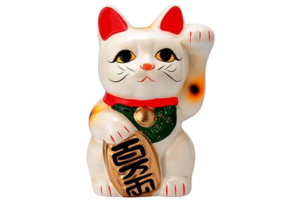 A Maneki Neko, aka a Lucky Cat or Fortune Cat.
