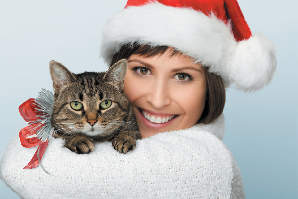 Cat and human holiday photo together.