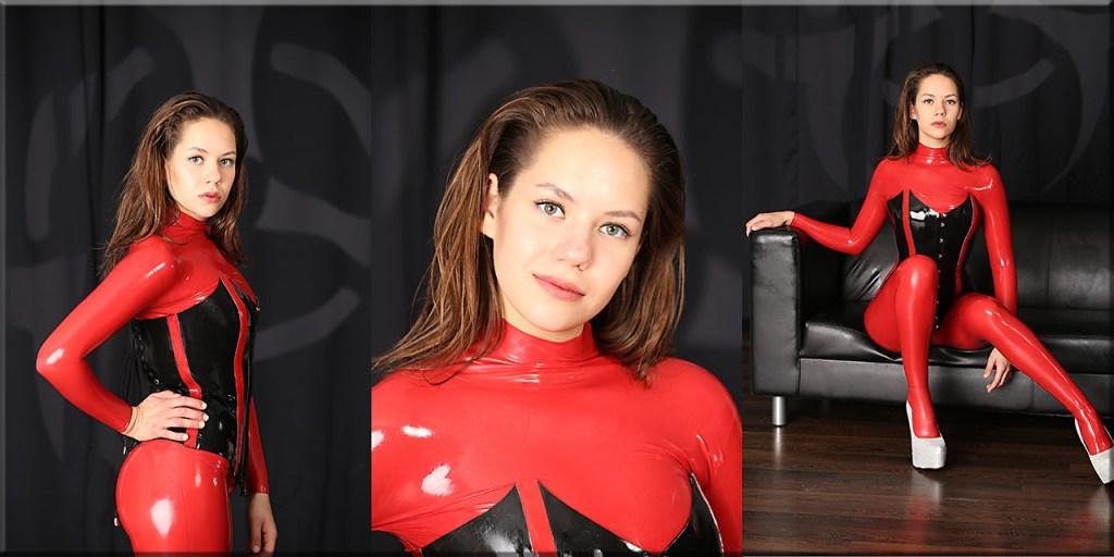 Polina im roten Latexskin