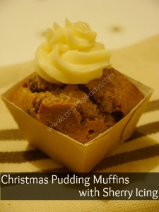 Christmas pudding muffins with sherry icing